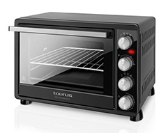 "Taurus Mini Oven Double Glass Door Adjustable Temperature Steel Black 45L 2000W ""Horizon"""