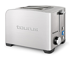 "Taurus Toaster 2 Slice Stainless Steel Brushed 5 Heat Settings 850W ""My Toast II Legend"""
