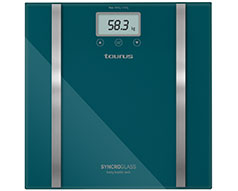 "Taurus Bathroom Scale Battery Operated Glass Teal 180kg 3V ""Syncro Glass"""